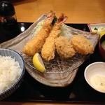 かつき亭 - エビフライとヒレカツ定食 ¥1,780