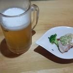 一品菜酒家 侠竹林 - 生ビールとお通し