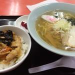 十八番 - ランチメニュー750円 塩ラーメンと焼肉丼