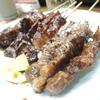 Botsuchan - 料理写真:【串焼き・牛バラ390円 鳥きも@240円】3本の値段でとってもリーズナブル。
