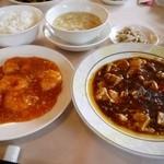 満楼日園 - 満楼日園ランチ (麻婆豆腐、海老のチリソース煮) 2090円。