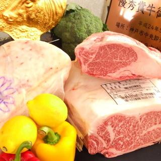 ブロンズ像は神戸牛取扱正規指定店の証
