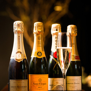 シャンパンのハーフボトルを御用意