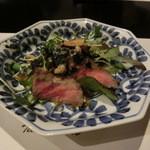 和食すがわら - 由利牛のたたきと焼きトマトのサラダ