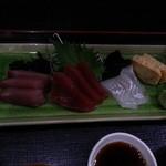 心海 - お刺身三点盛り定食の刺身アップ!