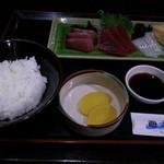 心海 - お刺身三点盛り定食 600円