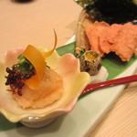 香家 - 赤座海老の塩ユッケ うずらと韓国海苔添え