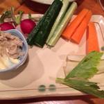 絆 - 自家製わさび漬と野菜スティック 4絆(420円)