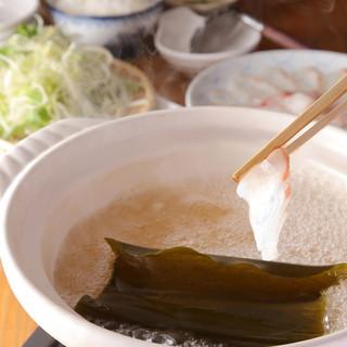 鯛の出汁と昆布出汁の黄金だしで食す鯛しゃぶは絶品です。