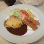 レストラン神谷 - Aランチ(チキンソテー&イカフライ)