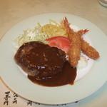 レストラン神谷 - Dランチ(ハンバーグ&海老フライ)
