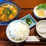 赤から - 赤から鍋ランチ(¥850)。辛さは5段階で選べる。3は丁度良いピリ辛感