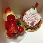 お菓子の菓苗 - 料理写真:苺タルト、桜モンブラン