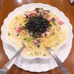 トライアングル - 特製スープスパゲティ(¥900+大盛¥150)。あさり・ベーコン・しめじでコク◎