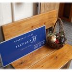 トラットリア アッカ - 入口の看板
