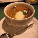 パローネ - 晩餐会メニュー☆ジャンボなめこのスープ仕立て温泉卵を添えて