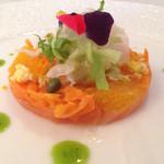 キュイジーヌ・フランセーズ・ラ・カーサ - オレンジとサーモンのカルパッチョ