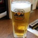 鶴橋風月 - 生ビール(中) 500円。