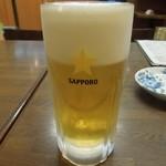 ゆで太郎 - まずはビールで乾杯♪ 生ジョッキ340円 サッポロ~ H26.3
