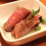 焼肉芝浦 - 鳥取和牛オレイン55のロースの雲丹巻き