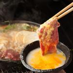 馬並み家 新橋 - 名物 歌麿鍋(馬肉のすき焼き)