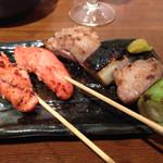 魚串さくらさく - 焼き明太子&マグロほほ肉ねぎま