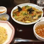 中嘉屋食堂 麺飯甜 - 五目焼きそばと半チャーハンセット