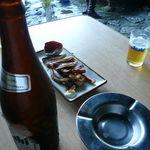 琴ケ瀬茶屋 - 瓶ビール(500円)、イカ