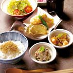 豆まる - ランチ■海老と湯葉真丈の天ぷら膳