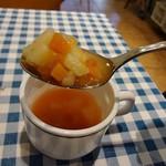 BASTA - スープは野菜たっぷりのミネストローネでした