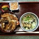 寿美吉 - 火曜ランチ 天丼+冷やしたぬき(970円)