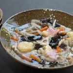 普茶 西願寺 - 雲片。野菜の葛かけ