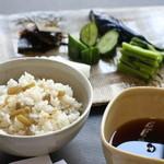 普茶 西願寺 - 飯子。味噌汁。漬物。