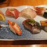 魚心 - 特上ぶっちぎり寿司定食 1480円    サラダ、天ぷら、赤だし付き
