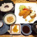 おしか - 〔日替り〕おたのしみ膳(コーヒー付¥870)。カキフライとチーズタラフライの盛合せ