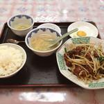 中華家庭料理奉天 - とりレバーとニラの炒め定食 750円