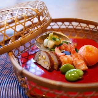 妙見石原荘 食菜石蔵 - 料理写真:かご盛りの八寸風。