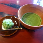 久連波 - 抹茶と吉はしの上生菓子(750円)