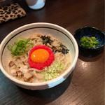 濃厚担々麺はなび - 明太クリームには、刻み大葉付き。途中で変化球です