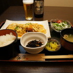 魚彩炭火ダイニング 一志 - 丹波地鶏チキンカツ玉ランチ970円(2014.4.4)