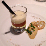ル ポン ド シエル - 鴨のフォアグラと根野菜のコンソメ オリーブ香るポテトのエスプーマ