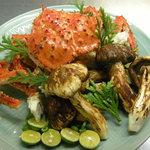 八千代 - タラバ蟹と松茸の炭火焼