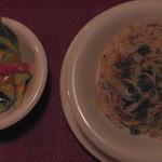 希林 - バジルソースのパスタとサラダ(真上)