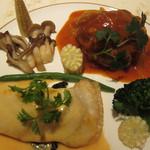 ベルフルール - 料理写真:羊のハンバーグと鮃のムニエル