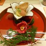 口福よこ山 - 万願寺唐辛子のシャーベット リンゴのコンポート(2014年4月3日訪問)