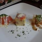 リストランテ ベニーノ - スペシャリテセットの本日の前菜(サーモンのマリネ、イタリア風オムライス、さわらのカルパッチョ)