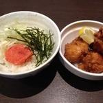 三麺流 武者麺 江坂店 - 満腹セット(+300円)明太子ごはんに変更