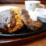 ステーキのどん - 和風おろしハンバーグ & ポークカツ デミソース 730円。