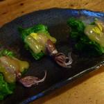松美屋 - 菜の花とホタルの酢味噌かけ
