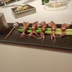 レストラン ラ フィネス - 富山産蛍烏賊とイタリアのグリーンアスパラのふりかっせ